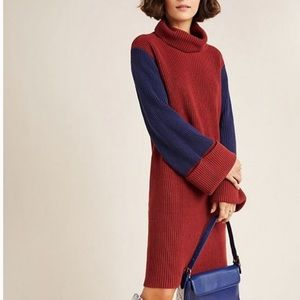 Anthropologie Knit Colorblocked Sweater Dress NWT